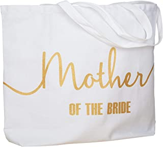 ElegantPark Mother of the Bride Jumbo Tote Bag for Wedding Gifts Canvas 100% Cotton Interior Pocket White with Gold Glitter