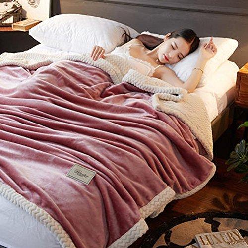 ZI LING SHOP- Double couverture de flanelle épaisse unique solide couleur couverture hiver Coral mariage double couverture blanket (Couleur : Rose, taille : 150x200cm)