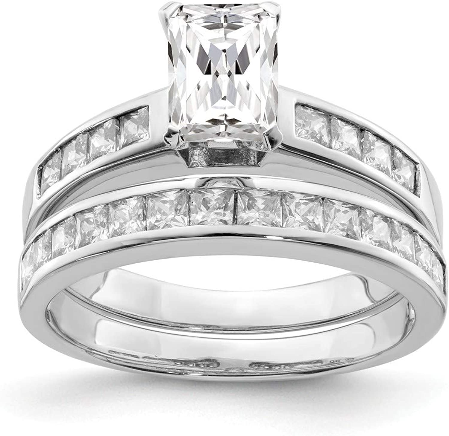 Beautiful Sterling silver 925 sterling Sterling Silver Rhodiumplated 2Piece CZ Size 8 Wedding Set Ring