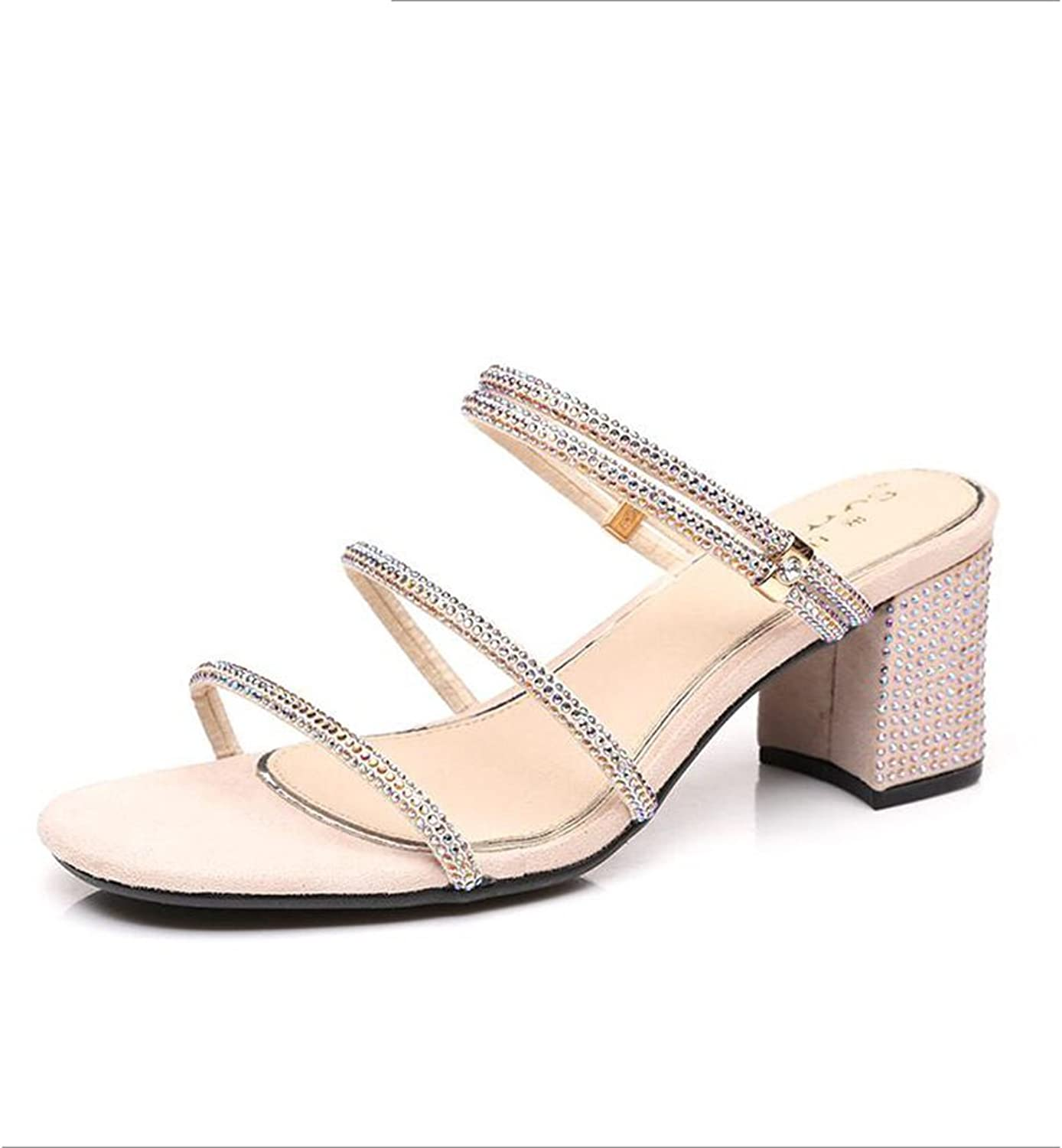 Jinsen Summer Women's Sandals Two Wear Diamonds Buckle Female Coarse with Square Head with Women's shoes