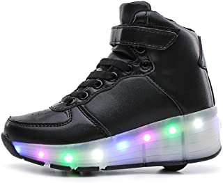 sexphd Kids Boys Girls High-Top Shoes LED Light Up Sneakers Single Wheel Double Wheel
