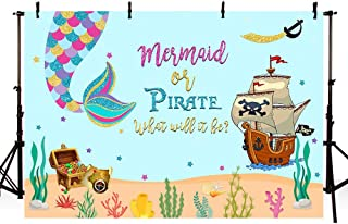 MEHOFOTO Mermaid or Pirate Gender Reveal Photography Backdrop Summer Ocean Baby Shower Sprinkle Party Decoration Under The Sea Pirate Ship Purple Turquoise Photo Studio Background Banner 7x5ft