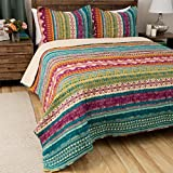 3 Piece Multi Color Bohemian Stripe Quilt Full Queen Set, All Over Horizontal Striped Bedding, Striped Southwest Native American Aztec Themed Pattern, Plum Purple Orange Yellow Teal Blue Pink White