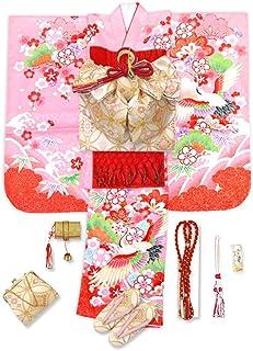 七五三 7歳 着物 フルセット 正絹 女の子 古典柄の子供着物 結び帯セット「ピンク 鶴と松竹梅」DYR-22f1709RR