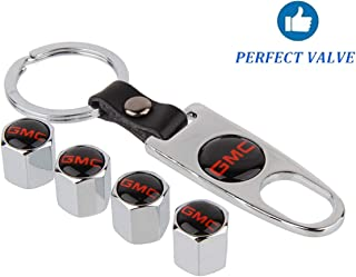 Zi Xuan Silver Tire Valve Stem Air Caps Cover and Keychain Combo Set for GMC