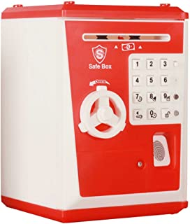 WLHOPE Electronic Password Piggy Bank Mini ATM Electronic Money Saving Banknotes, Coin Box Child Savings Safe Fingerprint and Password Unlock Educational Toys Gift (Red)