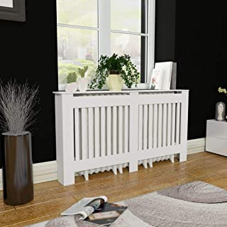 Festnight 60 Inches White Heating Cabinet MDF with Matt Finished Radiator Cover with Smooth Top for Living Room Bedroom Furniture Decor
