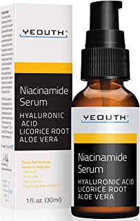 Niacinamide Facial Serum by YEOUTH, with Hyaluronic Acid, Green Tea, Licorice Root Extract, Vitamin B3 Serum (1oz)