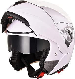 AHR Full Face Flip up Modular Motorcycle Helmet DOT Approved Dual Visor Motocross White XL