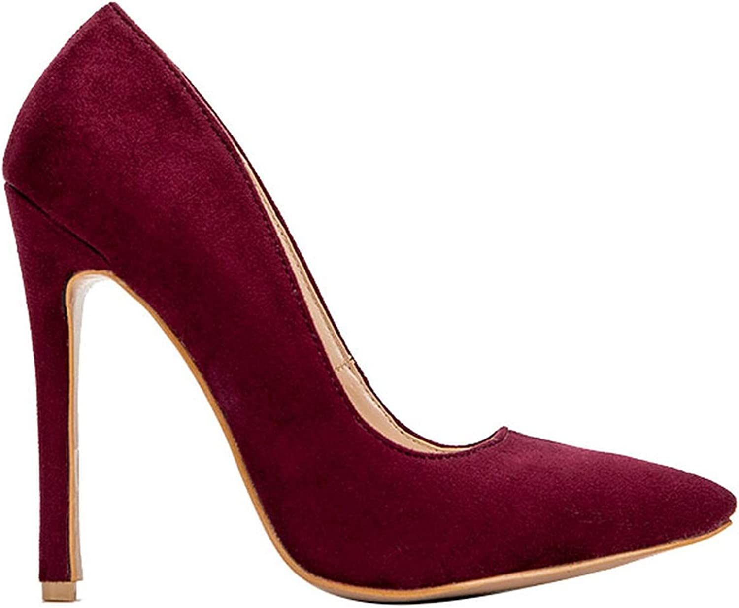 Woman High Heels Pumps Thin Heels shoes Flock Office Slip-On Shallow Solid Pointed Heel Pump Red Wine,8.5