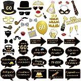 KonSait 60 Anni Compleanno Photo Booth Props (51Pcs) per 60 ¡ã Compleanno Oro e Nero Decorazioni, Celebrazione Big 60 Festa di Compleanno Foto Cabina Accessori per Uomo Donne