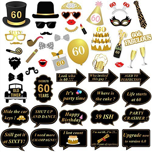 Konsait 60e Anniversaire fete Photo Booth Props, 51 Pcs Bricolage Anniversaire Photo Booth Lunettes Moustaches Chapeaux Masquerade Accessoires pour Hommes Femmes 60 Ans Anniversaire Decoration