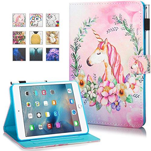 iPad Mini Case, Mini 2 3 4 Mini 5 Case Cover, MonsDirect Leather Smart Kickstand Case Flip Wallet Protective Case Compatible with Apple iPad Mini 1 2 3 4 Mini 5 2019, Flower Horse