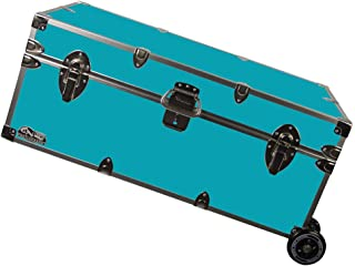 C&N Footlockers Happy Camper Trunk with Wheels - Camping Storage Chest - Durable with Lid Stay - 32 x 18 x 13.5 Inches