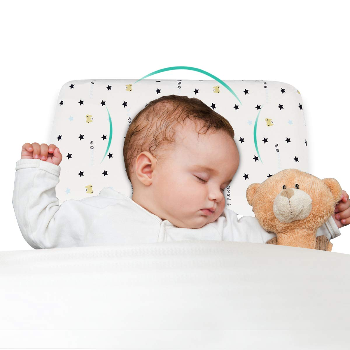 Baby Cot Memory Foam Pillow Sleeping Support Prevent Flat Head Cushion Toddler Pillow Prevention Colic Congestion And Anti Reflux Made Of Memory Foam Pink