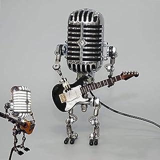 Retro Microfoon Robot Touch Dimmen Lamp Tafellamp-Robot Tafellamp met Gitaar Kantoor Woonkamer Slaapkamer Decoratie (met L...
