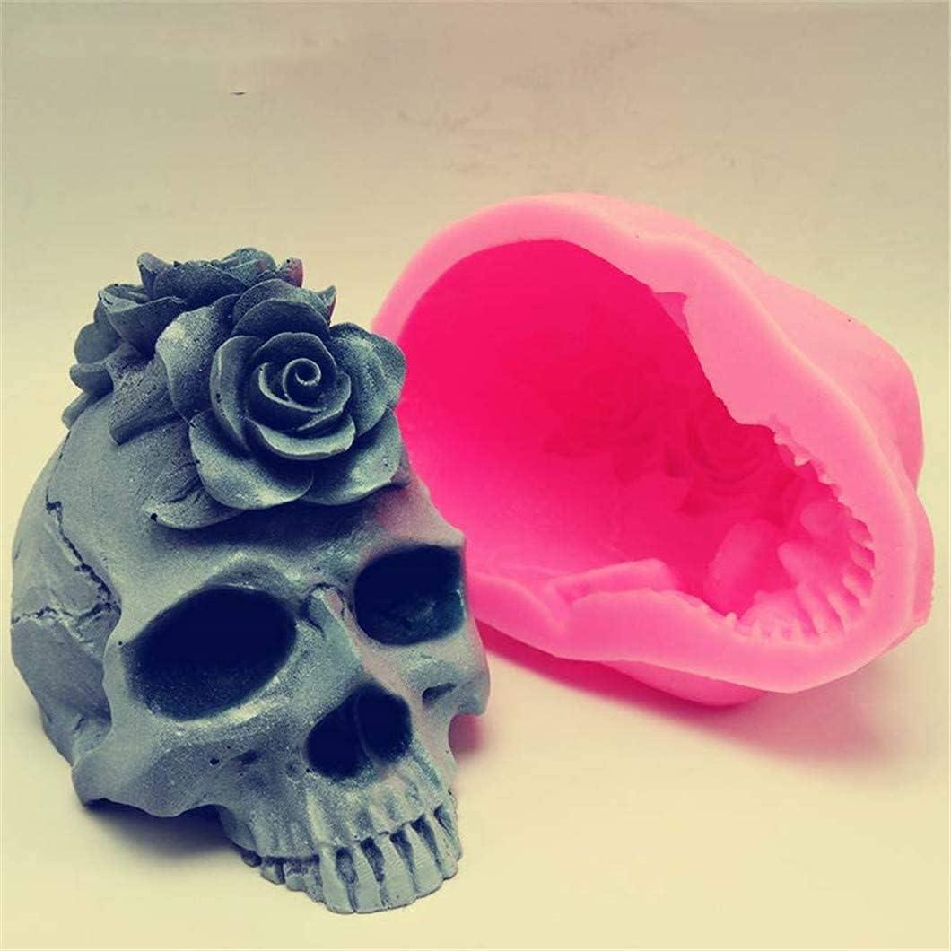 Excellent Manufacturer direct delivery 3D rose skull silicone mold plaster resin cake fondant choc