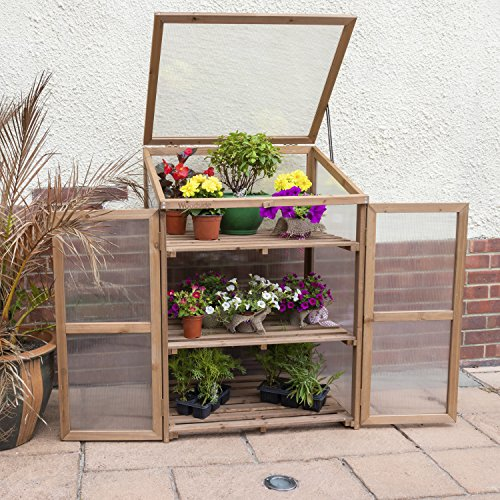 Woodside Outdoor Wooden Plant Flower Vegetable Cold Frame Cupboard Growhouse
