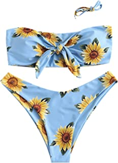 ثوب سباحة حريمي من ZAFUL مطبوع عليه أزهار ورباط مبطن ورباط