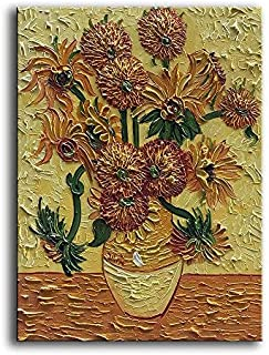 YaSheng Art - Handpainted Van Gogh Oil Paintings On Canvas Sunflower Flowers Artwork Pictures Home Office Decorations Painting Canvas Wall Art Painting Stretched Framed Ready to Hang 20x24inch
