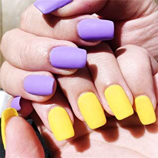 Drecode Yellow 24Pcs False Nails Matte Full Cover Short Square Coffin Natural False Acrylic Purple Fake Nail for Women and Girls (Yellow Purple)