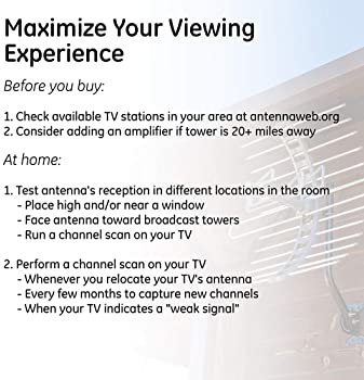 GE Pro Outdoor TV Antenna, Long Range Antenna, 4K 1080P VHF UHF Digital HDTV Antenna, J Mount Included, Weather Resis...
