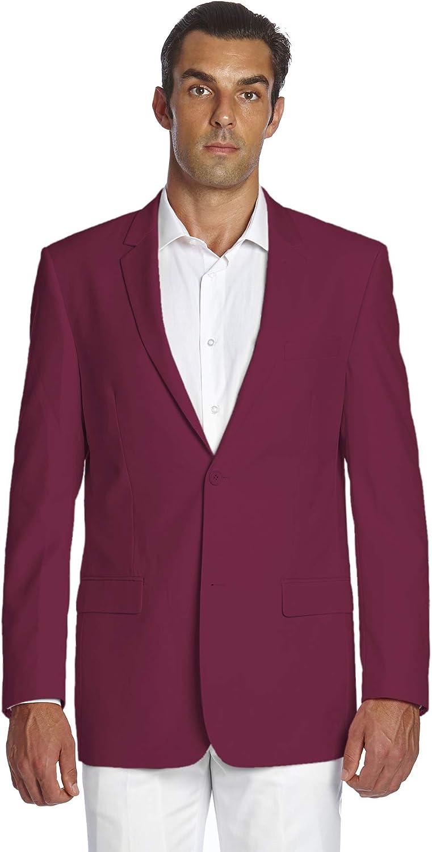 CONCITOR Men's Suit Jacket Separate Blazer Coat Solid BURGUNDY Color Two Button