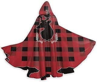 QDL American Wild Animals Deer Bear Unisex Hooded Cloak Full Long Cape for Halloween Cosplay Costumes 59