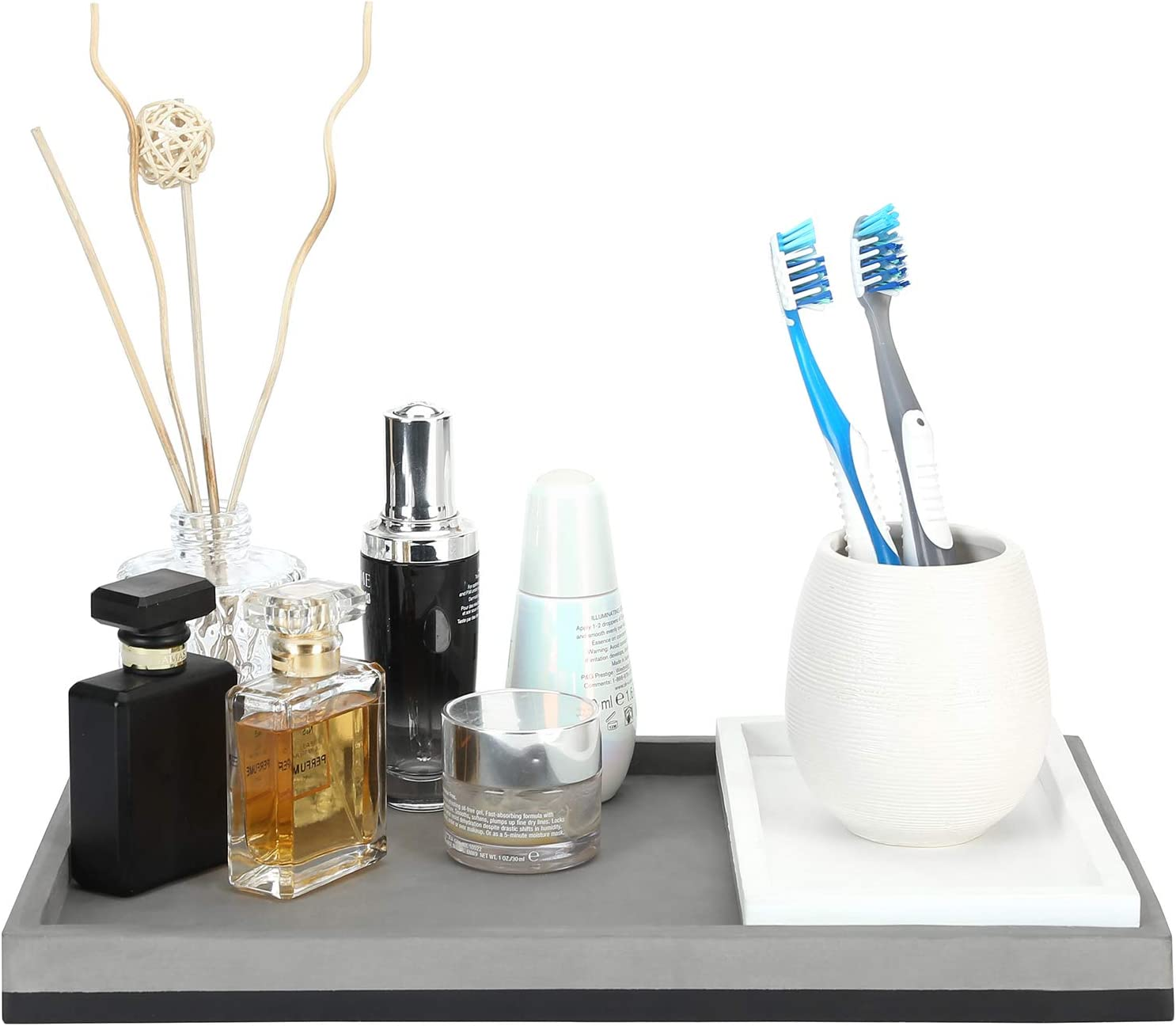 MyGift Modern Mixed Tone Concrete Vanity Bathroom Organizer Tray, Decorative Serving Platter, Gray & White
