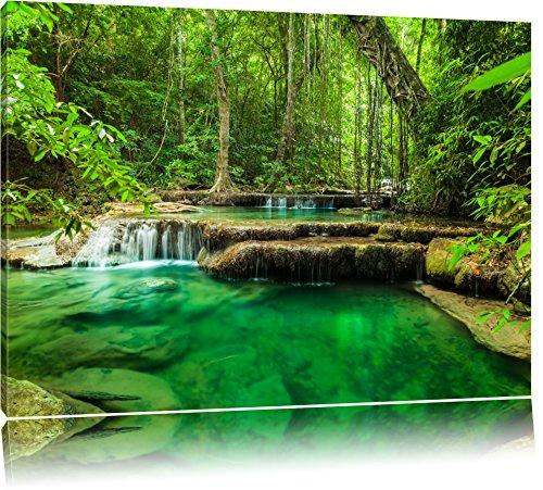 Tropischer Fluss Format: 120x80 auf Leinwand, XXL riesige Bilder fertig gerahmt mit Keilrahmen, Kunstdruck auf Wandbild mit Rahmen, günstiger als Gemälde oder Ölbild, kein...