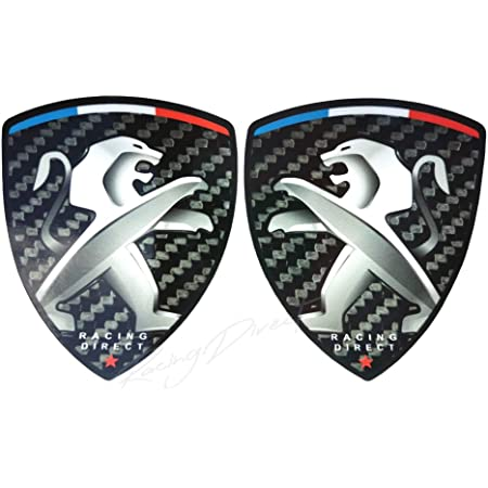 set di 2 adesivi con logo RACING DIRECT accessorio decorativo per auto per 206 207 208 307 308 107 5008 Adesivo per Peugeot Sport giallo