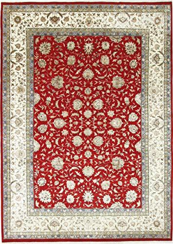 Nain Trading Indo Täbriz 365x263 Orientteppich Teppich Beige/Orange Handgeknüpft Indien