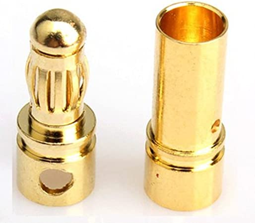 20x 3.5mm Gold Bullet Banana Connector Plug fr Motor ESC RC Modle Drone Car Boat