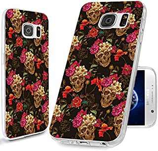 S7 Case,Galaxy S7 Case, ChiChiC [Cute Series] Full Protective Case Slim Flexible Soft TPU Gel Rubber Cases Cover Skin for Samsung Galaxy S7,Vintage Retro Gold Skull Pink Yellow Poppy Flower Floral