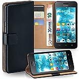moex Premium Handytasche kompatibel mit Huawei Ascend Y330 - Klapphülle mit Kartenfach & Ständer, magnetische Handy Tasche - Flip Hülle Schutzhülle, Schwarz