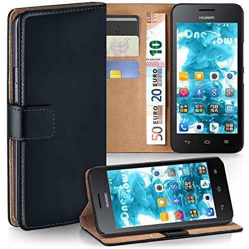 MoEx® Booklet mit Flip Funktion [360 Grad Voll-Schutz] für Huawei Y330 | Geldfach und Kartenfach + Stand-Funktion und Magnet-Verschluss, Schwarz