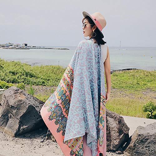 Roshow Bufanda Mujer Verano Protector Solar Toalla de Playa de Gran tamaño en la Playa Salvaje Delgada sección Larga Aire Acondicionado Chal Gasa de Playa-Azul Claro_El 180 * 100cm
