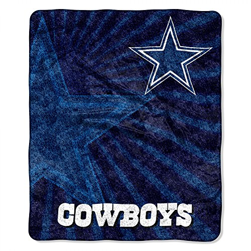 """Officially Licensed NFL Dallas Cowboys """"Strobe"""" Sherpa on Sherpa Throw Blanket, 50"""" x 60"""", Multi Color"""
