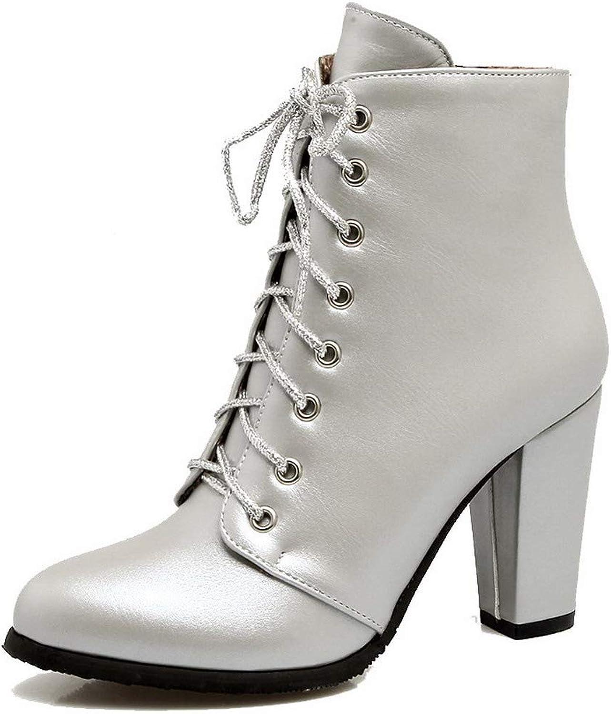 WeiPoot Women's Ankle-High Zipper Pu High-Heels Round-Toe Boots, EGHXH025902
