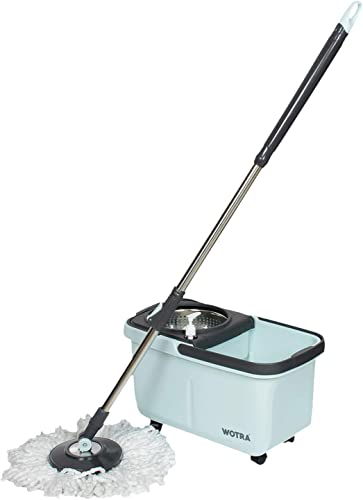 WOTRA Quick 360 Rotating Spin Wheel Bucket mop for Floor Cleaning with Stainless Steel Clip and Lock Handle and 3 Extra Microfiber Refills Aqua Blue S335