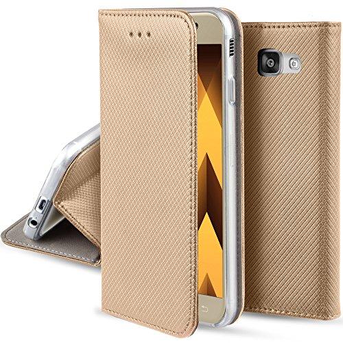 Moozy Hülle Flip Case für Samsung Galaxy A5 2017, Gold - Dünne Magnetische Klapphülle Handyhülle mit Standfunktion