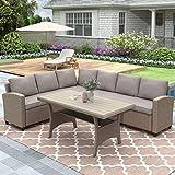 Merax Outdoor Patio Furniture Set, Rattan Wicker Patio Sectional Sofa, Garden Poolside Backyard Conversation Set with Cushions, Brown