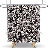 N\A Cortina de Ducha Floral Rose Flower Cloth Fabric Niñas Baño Decoración Set con Ganchos Impermeable Lavable