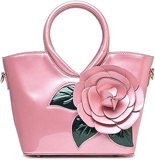 Trendy Ladies Sweet Lady Bag Waterproof Handbag Pearlescent Patent Leather Flower Shoulder Bag Zgywmz (Color : Pink, Size : 23 * 11 * 21cm)