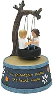 WL SS-WL-18470, 6.5 Inch Girl and Boy Swinging in Tire Blue Jeans Animated Figurine, 6.5