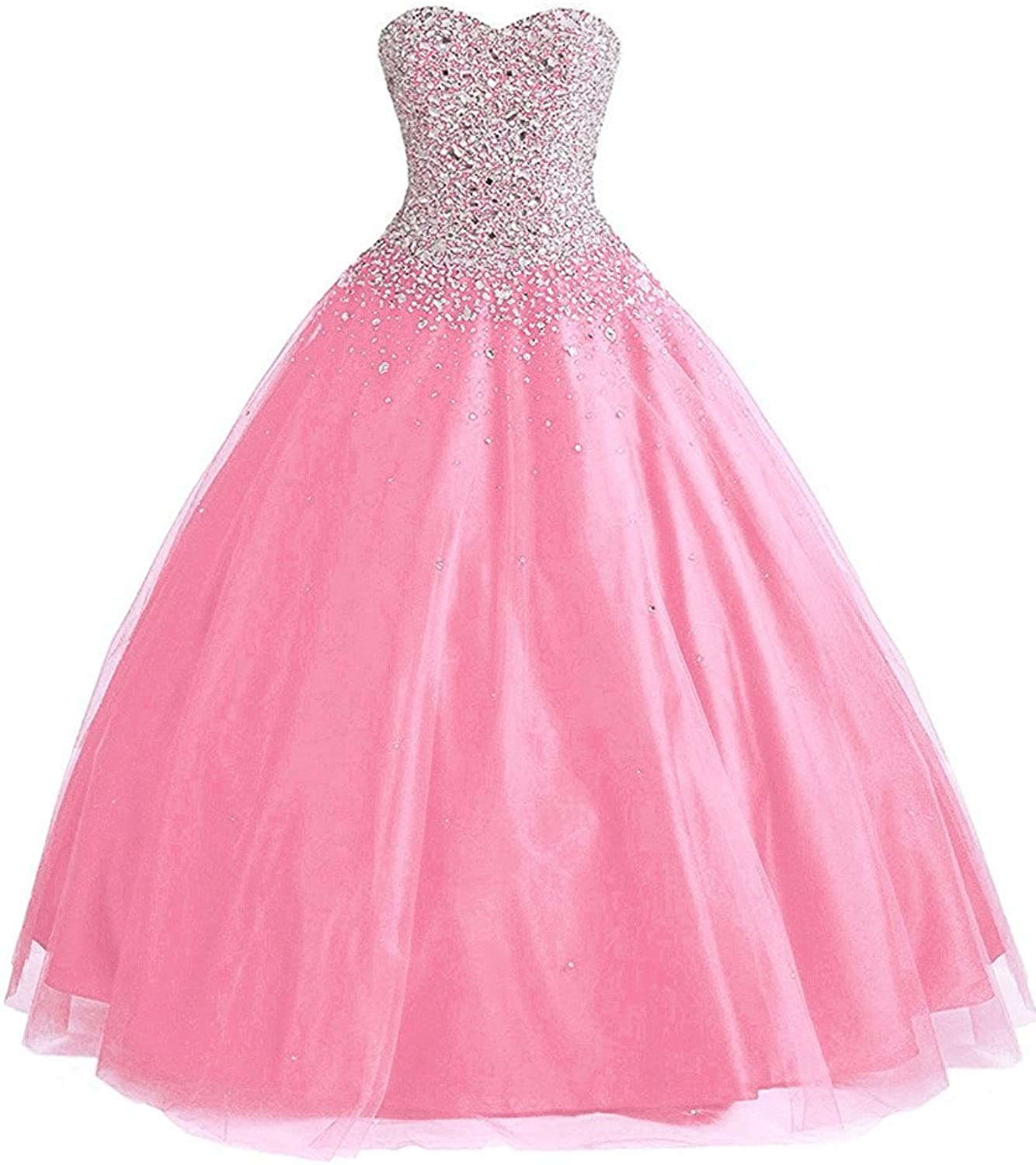 Yc Women's Tulle Beaded Ball Gown Sweet 16 Prom Quinceanera Dresses