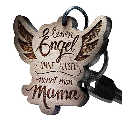 """schenkYOU® Premium Schlüsselanhänger aus Nussbaumholz vorgraviert - personalisierte Geschenkidee - Gravur """"Einen Engel ohne Flügel nennt Man Mama"""""""