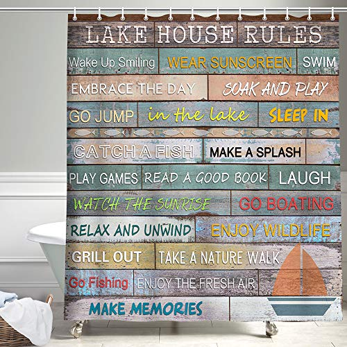 Rustic Lodge Cabin Fabric Shower Curtain for Bathroom, Fish Lake Quotes Lake House Rules on Country Wooden Plank Farmhouse Style Shower Curtain for Camping, Nautical Fishing Shower Curtain, 69X70in