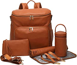 LCY PU Leather Waterproof Backpack Baby Nappy Changing Bag Set-Brown