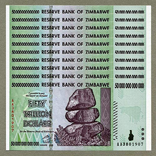 Zimbabwe 50 Trillion Dollars X 10 PCS, AA/2008 Series, P-90, UNC